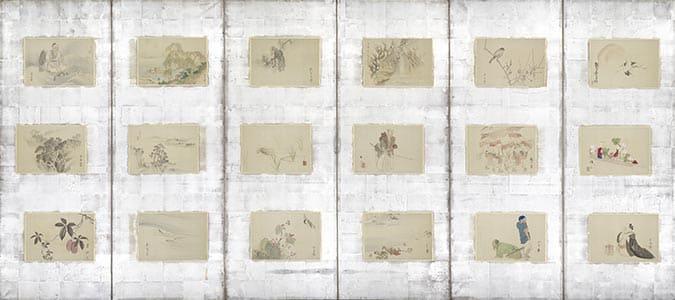 京洛三十六家山水花鳥人物図貼交屏風 右隻