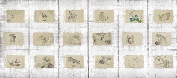 京洛三十六家山水花鳥人物図貼交屏風 左隻