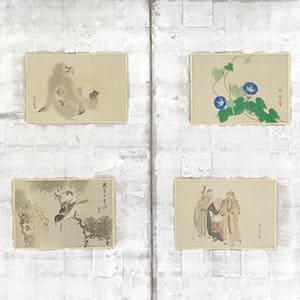 京洛三十六家山水花鳥人物図貼交屏風